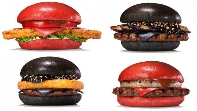 Новые красные и черные гамбургеры