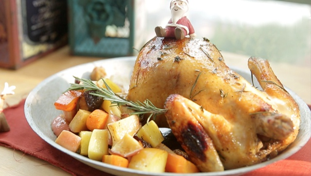 Запечённая курица к Рождеству - пошаговый рецепт