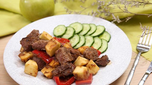 Жареная говядина с яблоками - Пошаговый рецепт