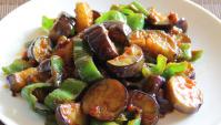 Жареные баклажаны с перцем и пастой мисо - Рецепт