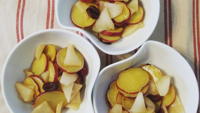 Вареный сладкий картофель с яблоком - рецепт