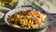 Жареная лапша удон с грибами и угрем - пошаговый рецепт