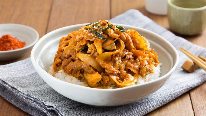 Острая жареная свинина с рисом - пошаговый рецепт