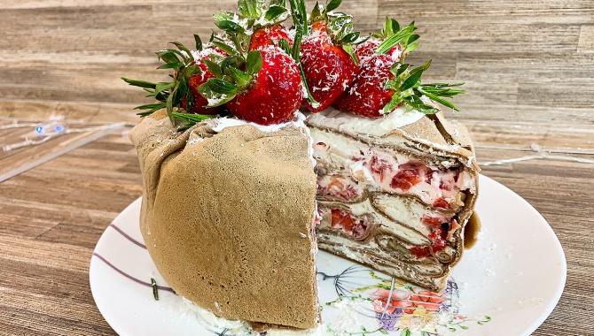 Блинный торт со сливочным кремом - Рецепт