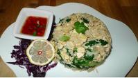 Вегетарианские жареный рис с тофу