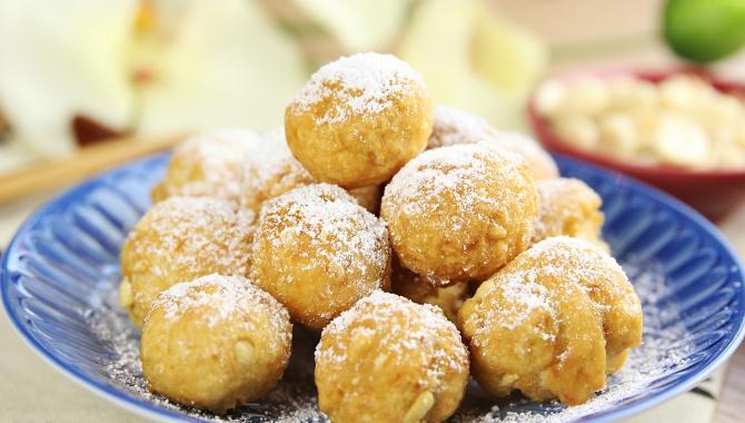 Жареные пончики с арахисом и тофу - пошаговый рецепт