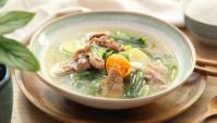 Суп с солёным яйцом, свининой и салатной горчицей - пошаговый рецепт