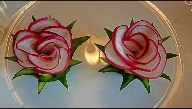 Украшение блюд - цветы из редиса