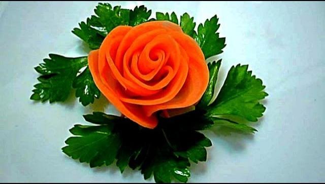 Как сделать розочку из вареной моркови