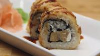 Сливочный тереяки (куриный) темпура роллс. Как сделать суши. Японская кухня