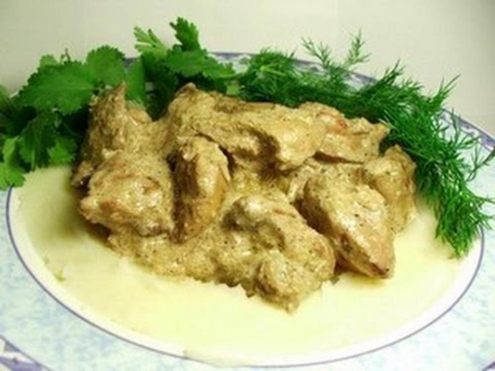 Печенка куриная со сметаной рецепты