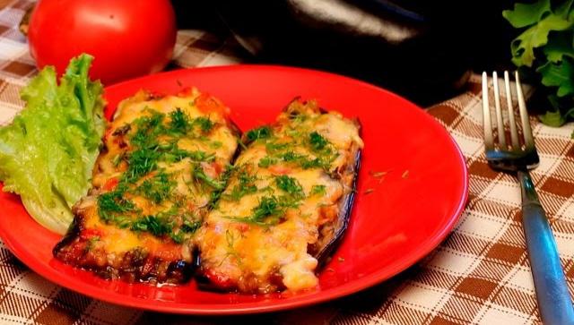 Лодочки из баклажанов с кускусом, помидорами и сыром - Видео-рецепт