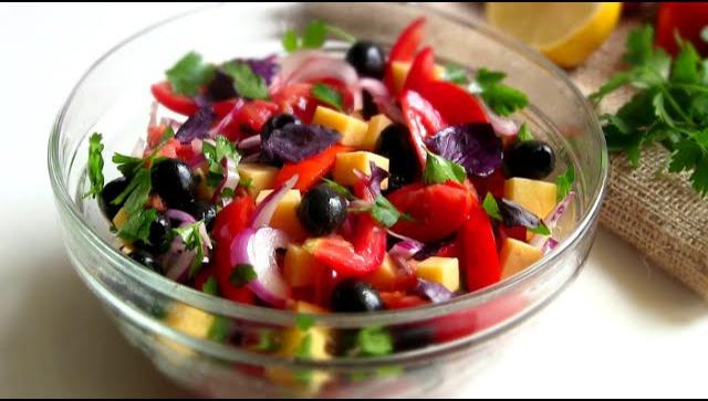 Легкий салат Гармония без майонеза - Видео-рецепт