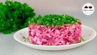 Салат с запеченной свеклой, сыром и яйцом - Видео-рецепт