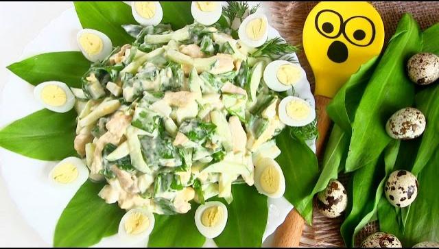 Салат с черемшой Весенний - Видео-рецепт