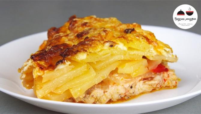Запеченный картофель с мясом под сырной корочкой - Видео-рецепт