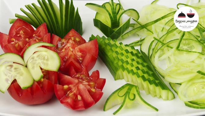 Как красиво нарезать огурец, 6 способов. Украшения из Овощей (Видео)