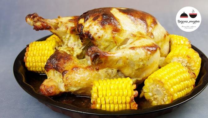 Курица в необычном маринаде, запеченная с кукурузой - Видео-рецепт