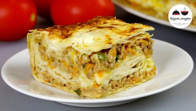 Мясной пирог из лаваша - Видео-рецепт