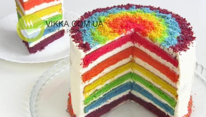 Разноцветный торт Радуга - Видео-рецепт