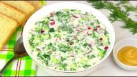 Окрошка на кефире с минералкой - Видео-рецепт