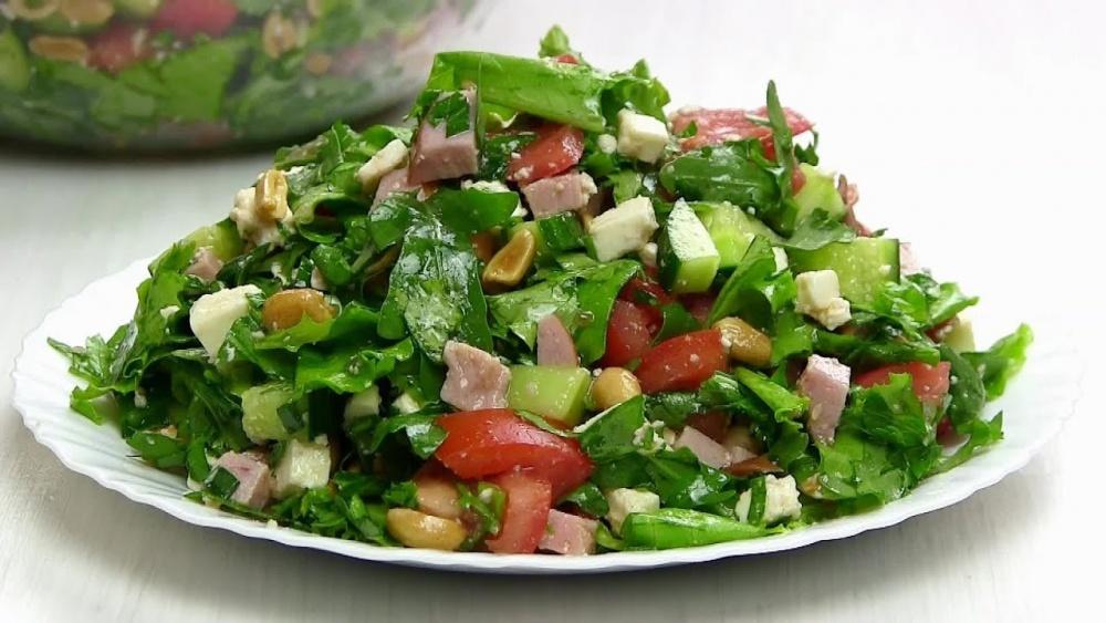 Рецепт зеленый салат видео рецепт