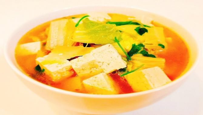 Суп из тофу с говядиной и пекинской капустой - Видео-рецепт