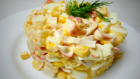 Салат с Апельсином и Крабовыми Палочками - Видео-рецепт