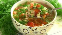 Куриный Суп с помидорами и яйцами, - Видео-рецепт