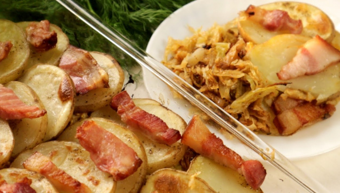 Картошка с капустой и салом в духовке - Видео-рецепт
